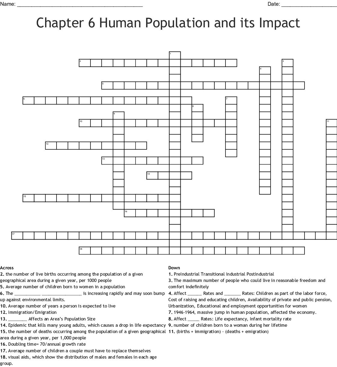 Chapter 6 Human Population And Its Impact Crossword