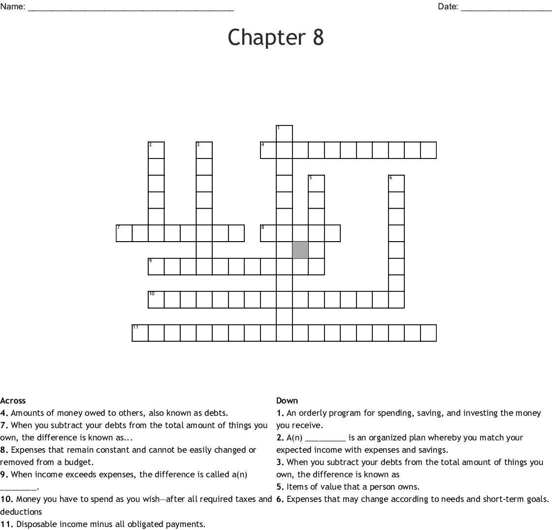 Chapter 8 Budgets And Financial Records Worksheet Answers
