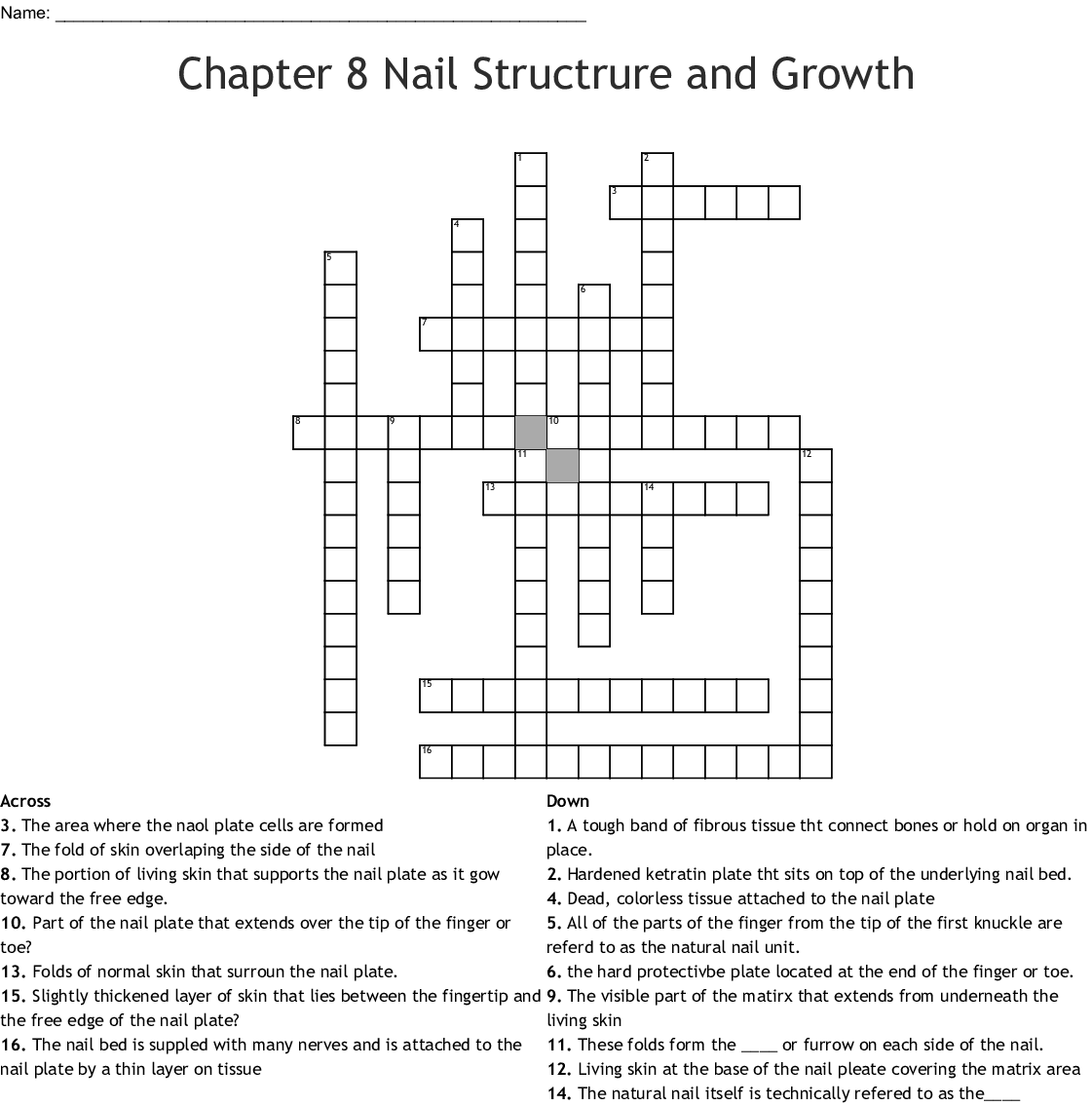 Chapter 8 Nail Structrure And Growth Crossword