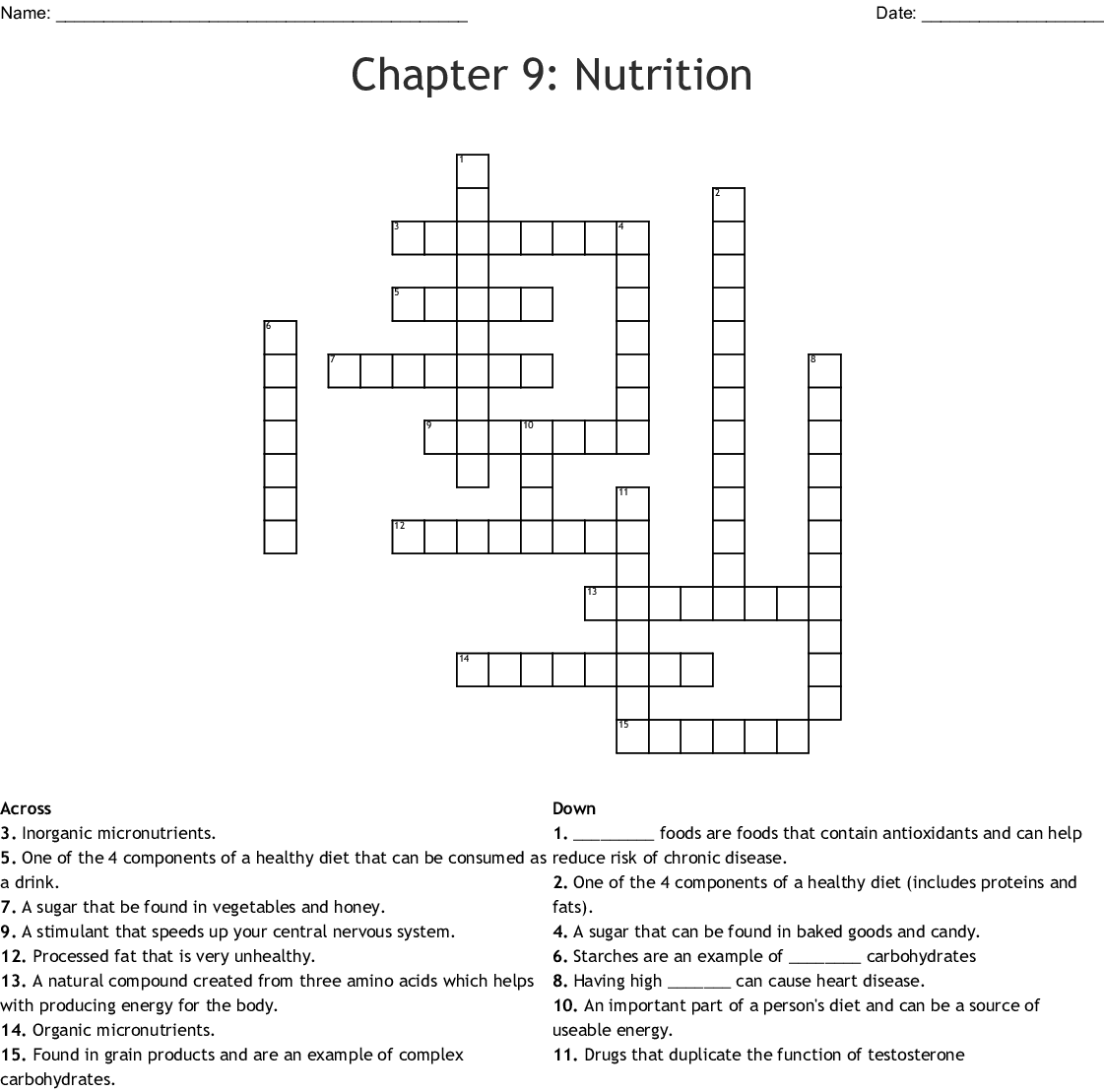 Chapter 9 Nutrition Crossword