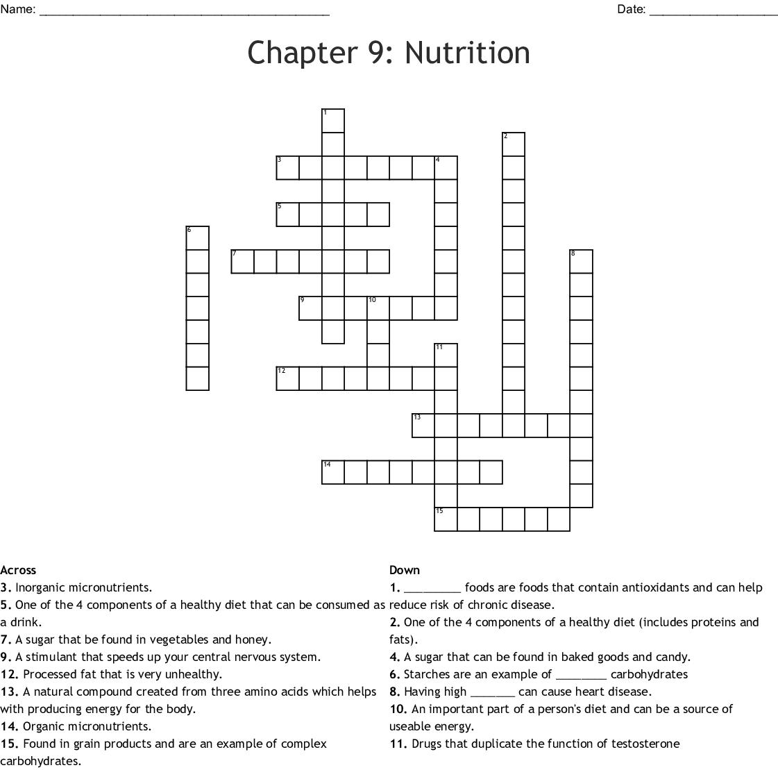Chapter 9 Nutrition Crossword