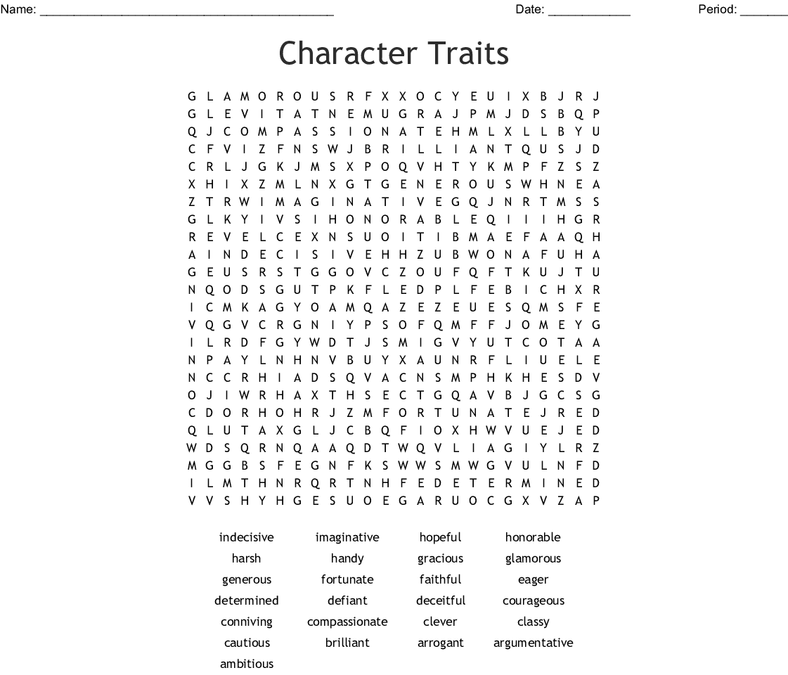 Character Traits Word Search