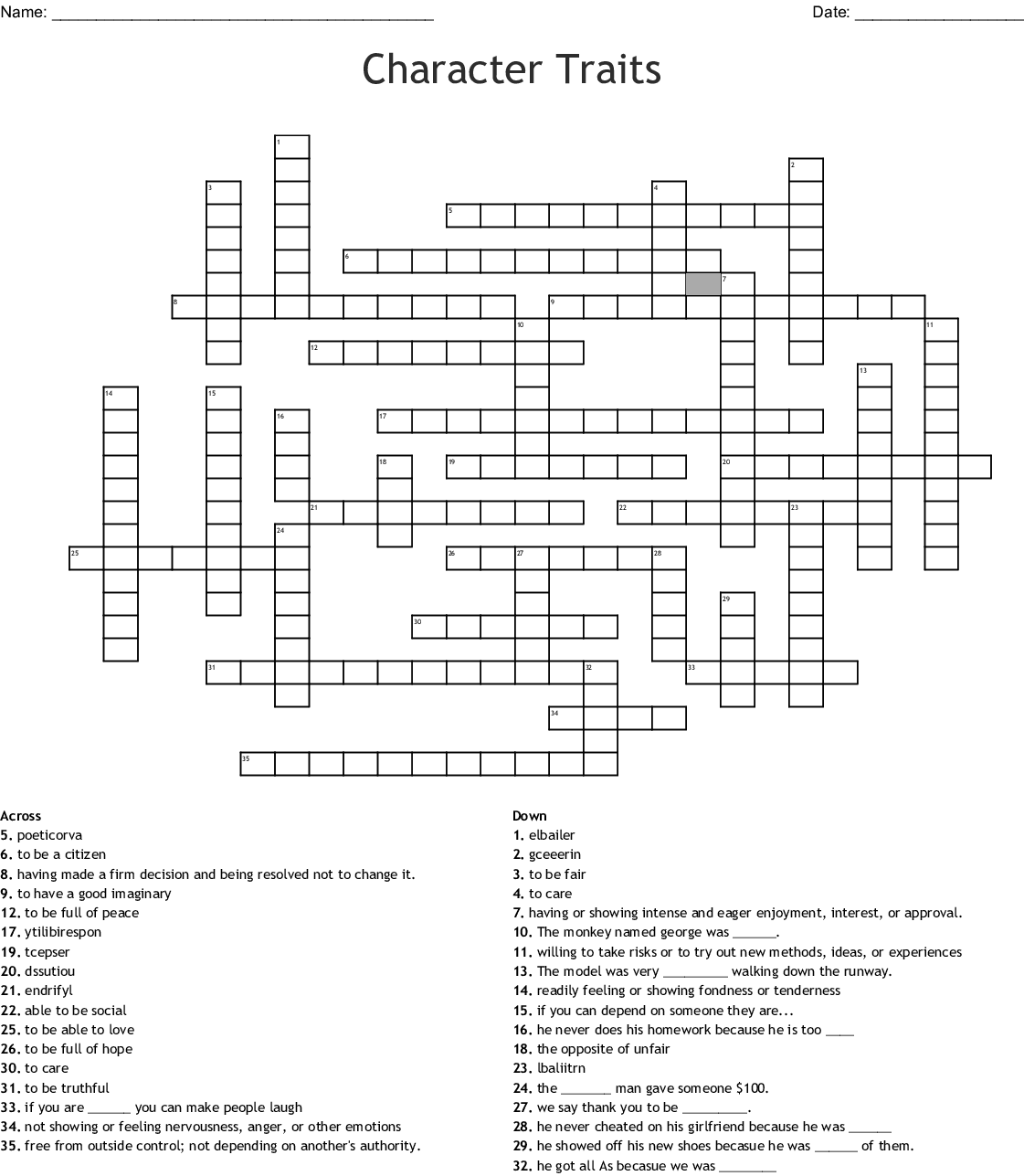Character Traits Crossword Puzzle