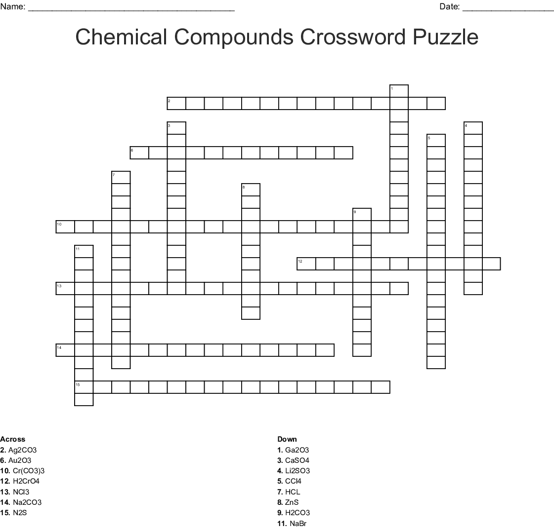 Ionic And Covalent Compounds Crossword