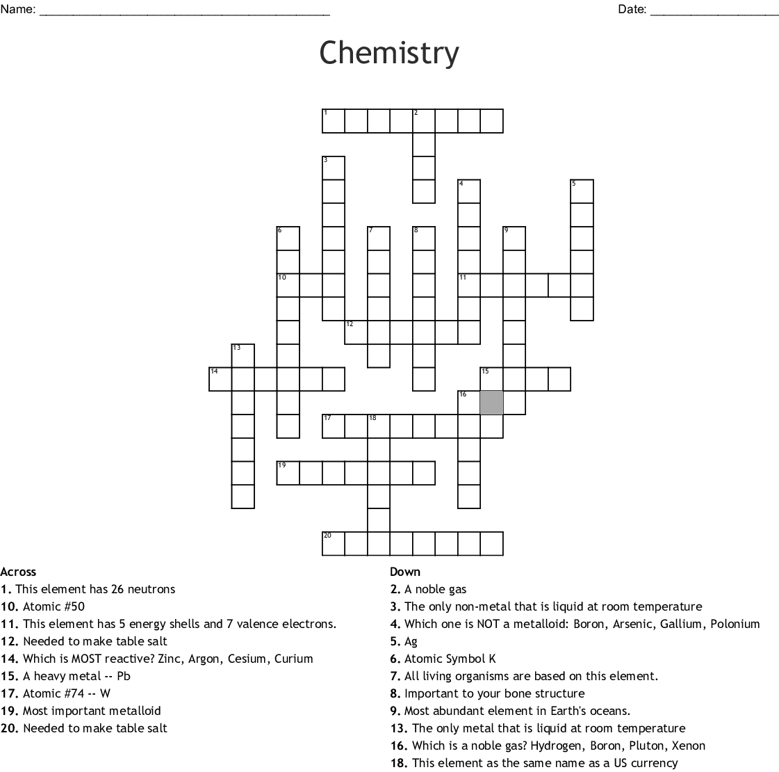 Chemistry Crossword