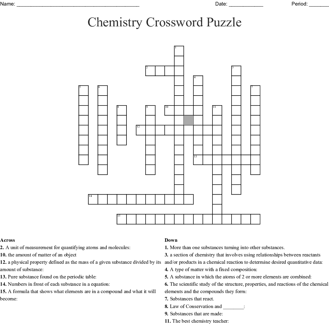 Chemistry Crosswords Word Searches Bingo Cards