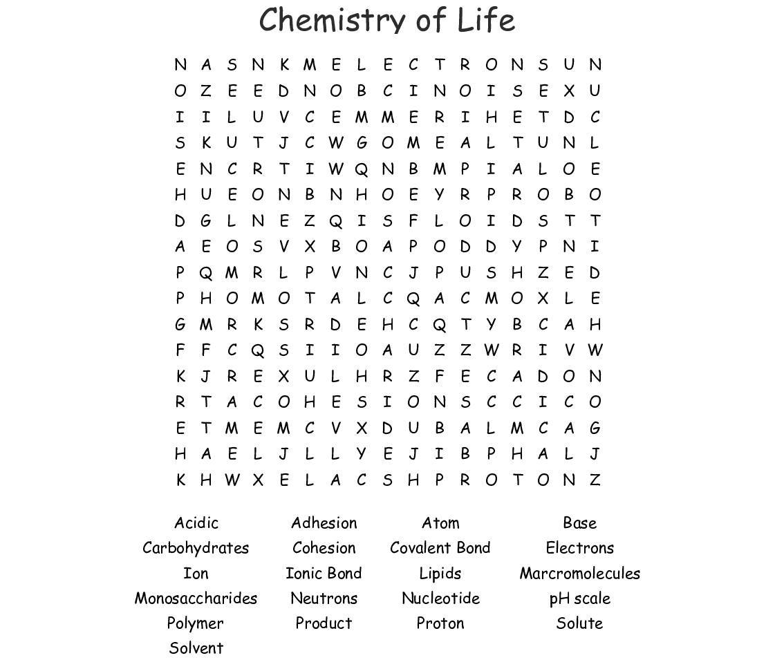 Chemistry Of Life Word Search