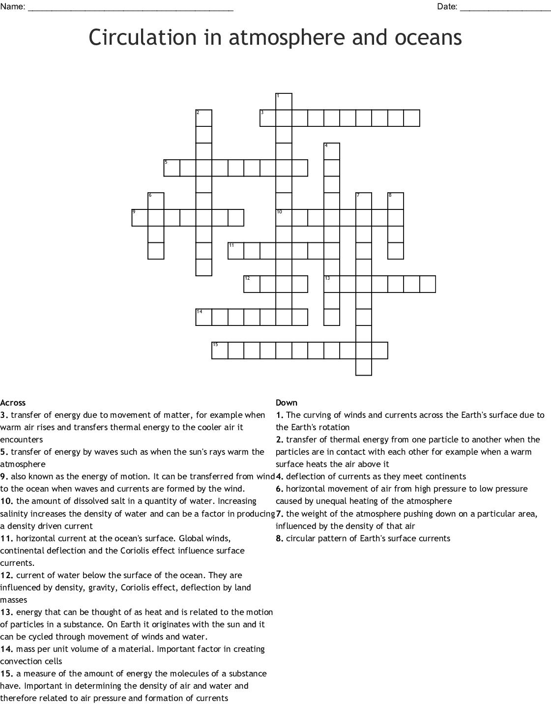 Circulation In Atmosphere And Oceans Crossword