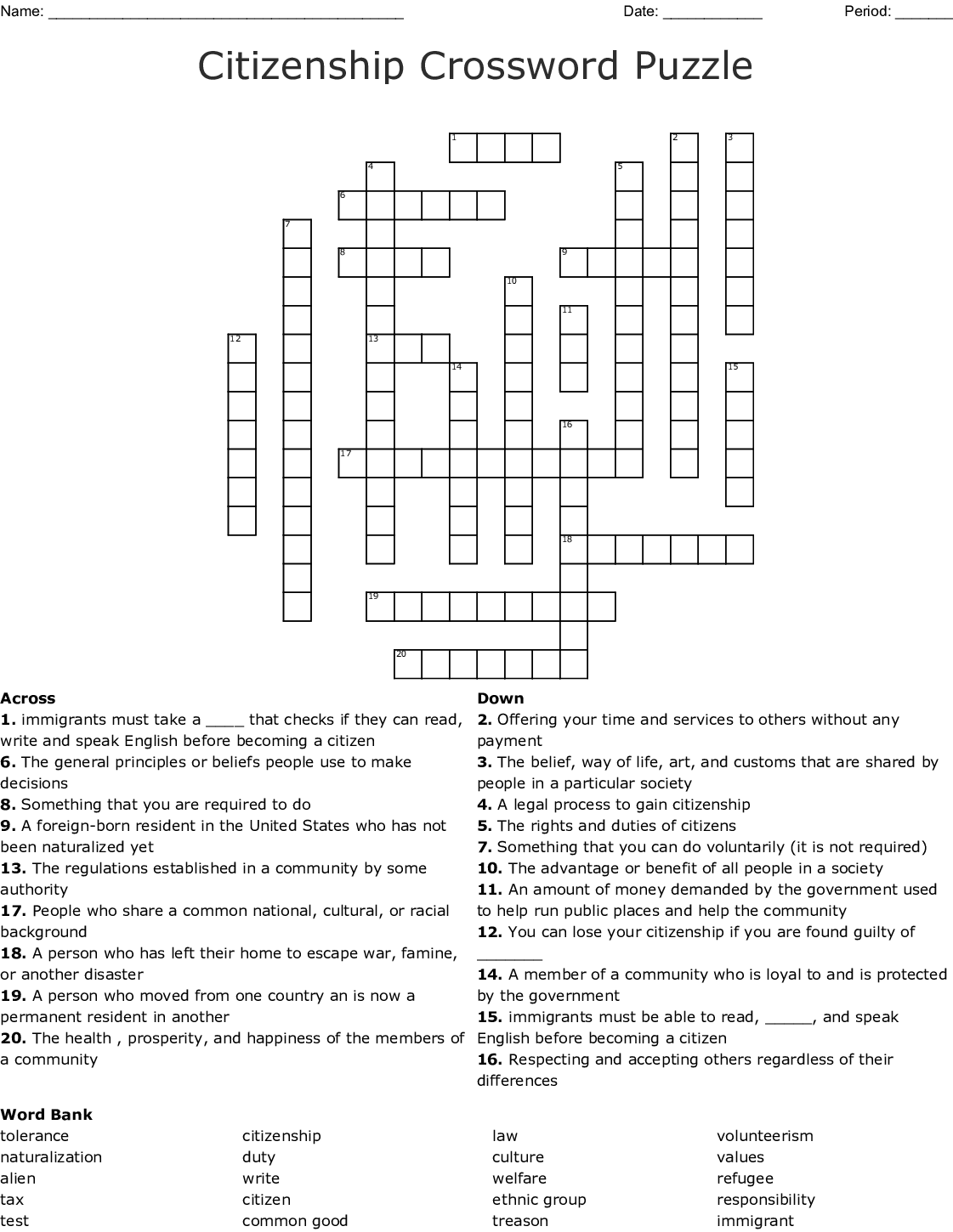 The Best Printable Citizenship Test