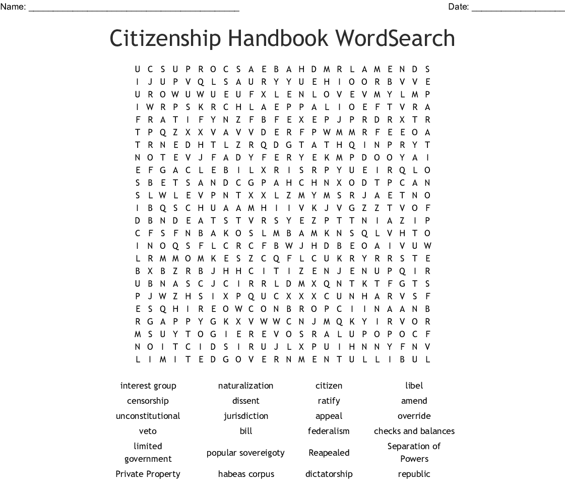 Citizenship Word Search