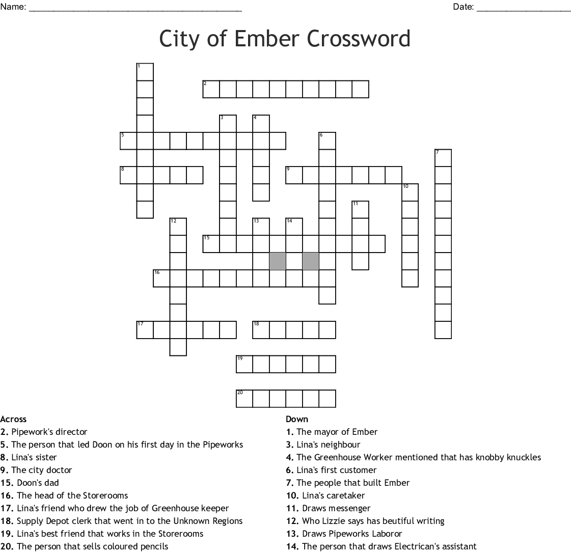 The City Of Ember Crossword Puzzle