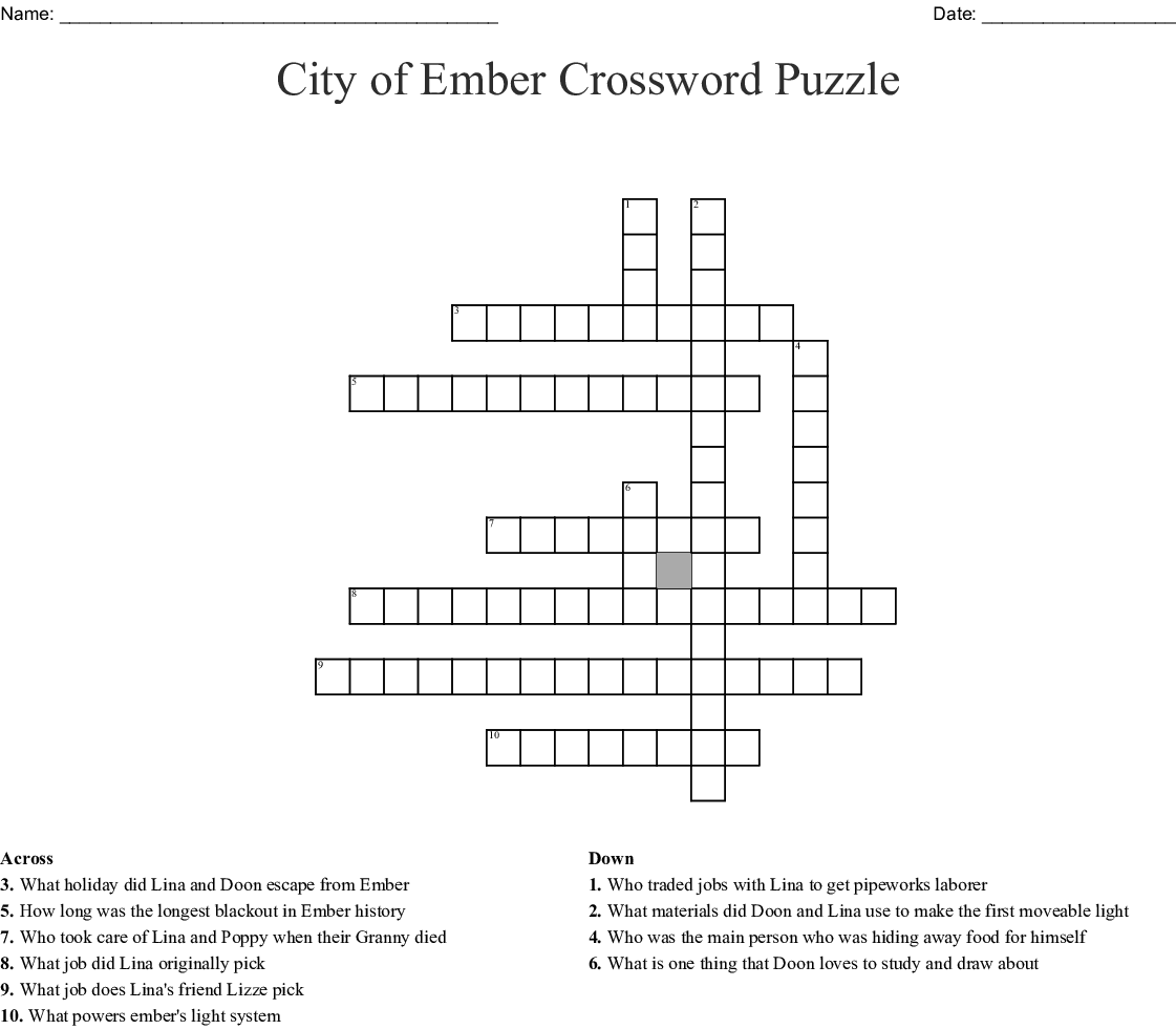 The City Of Ember Crossword