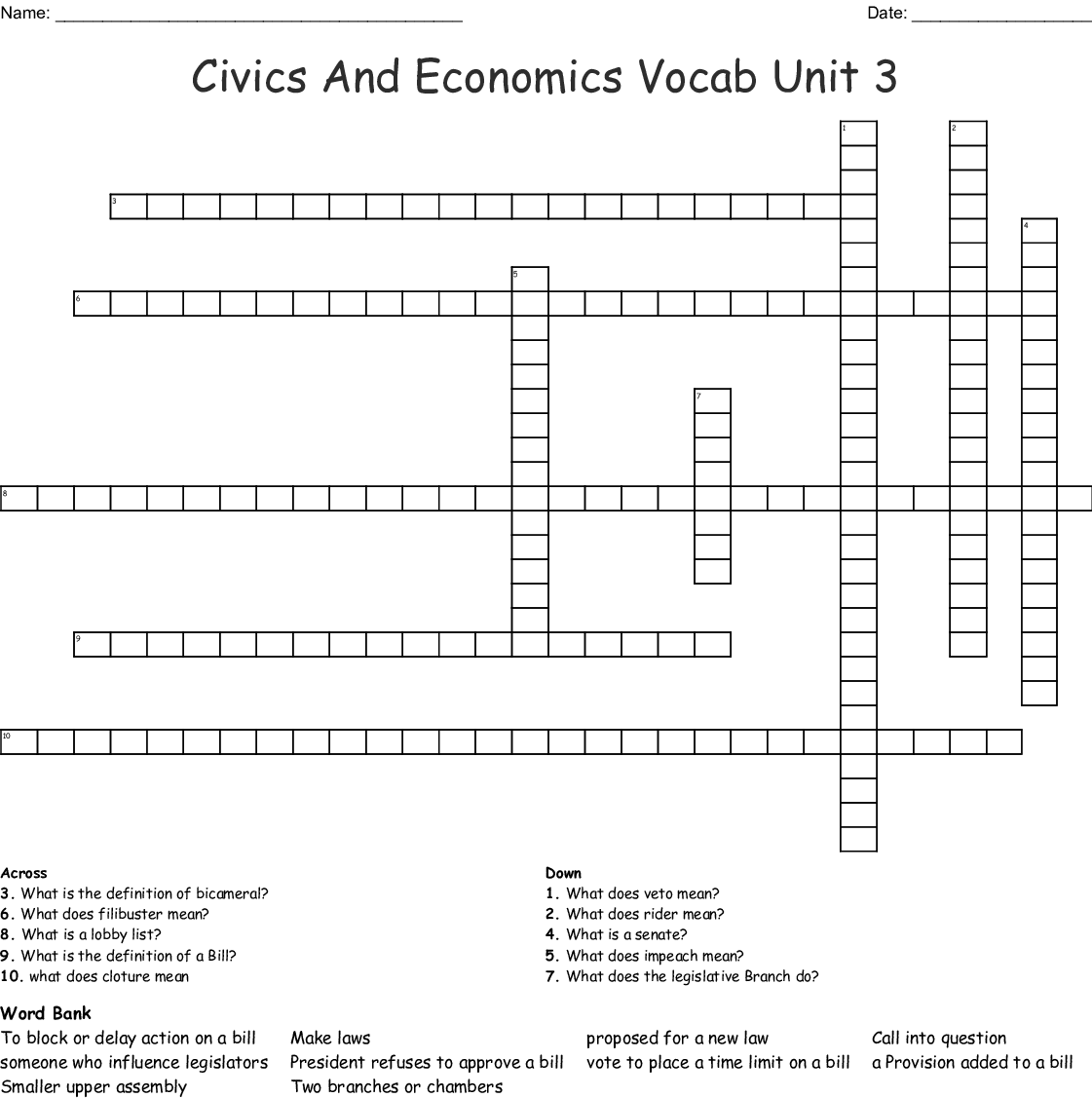 Civics And Economics Vocab Unit 3 Crossword