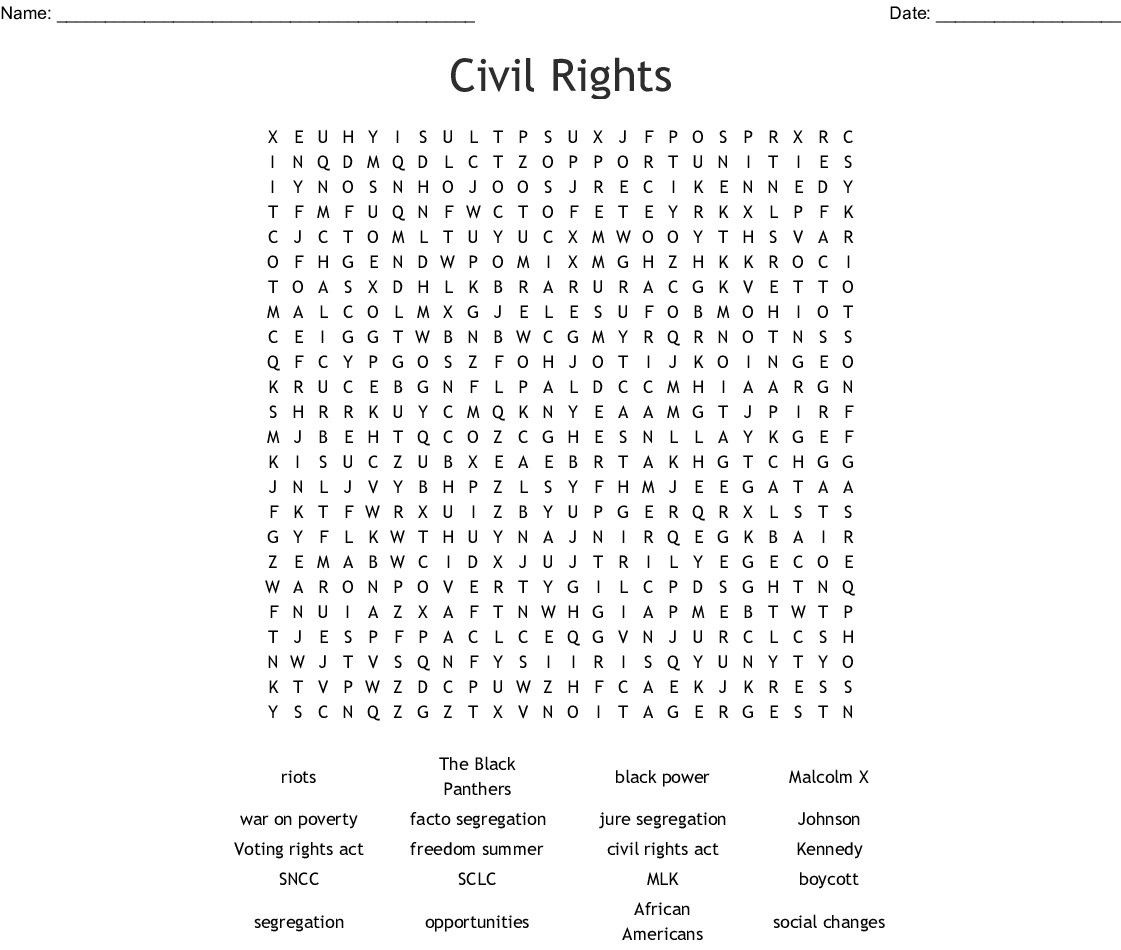 Civil Rights Word Search
