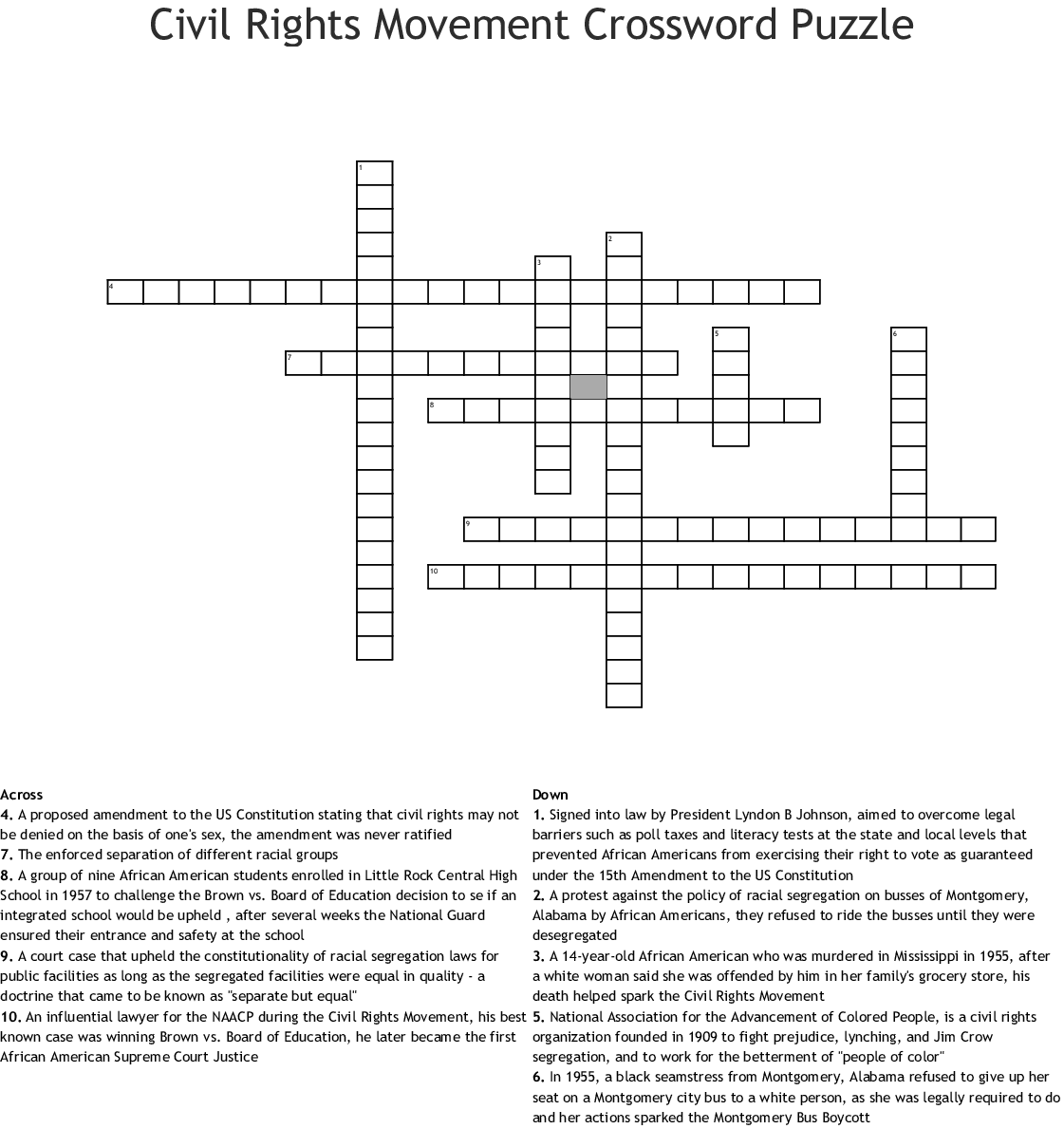 Civil Rights Movement Crossword Puzzle Crossword