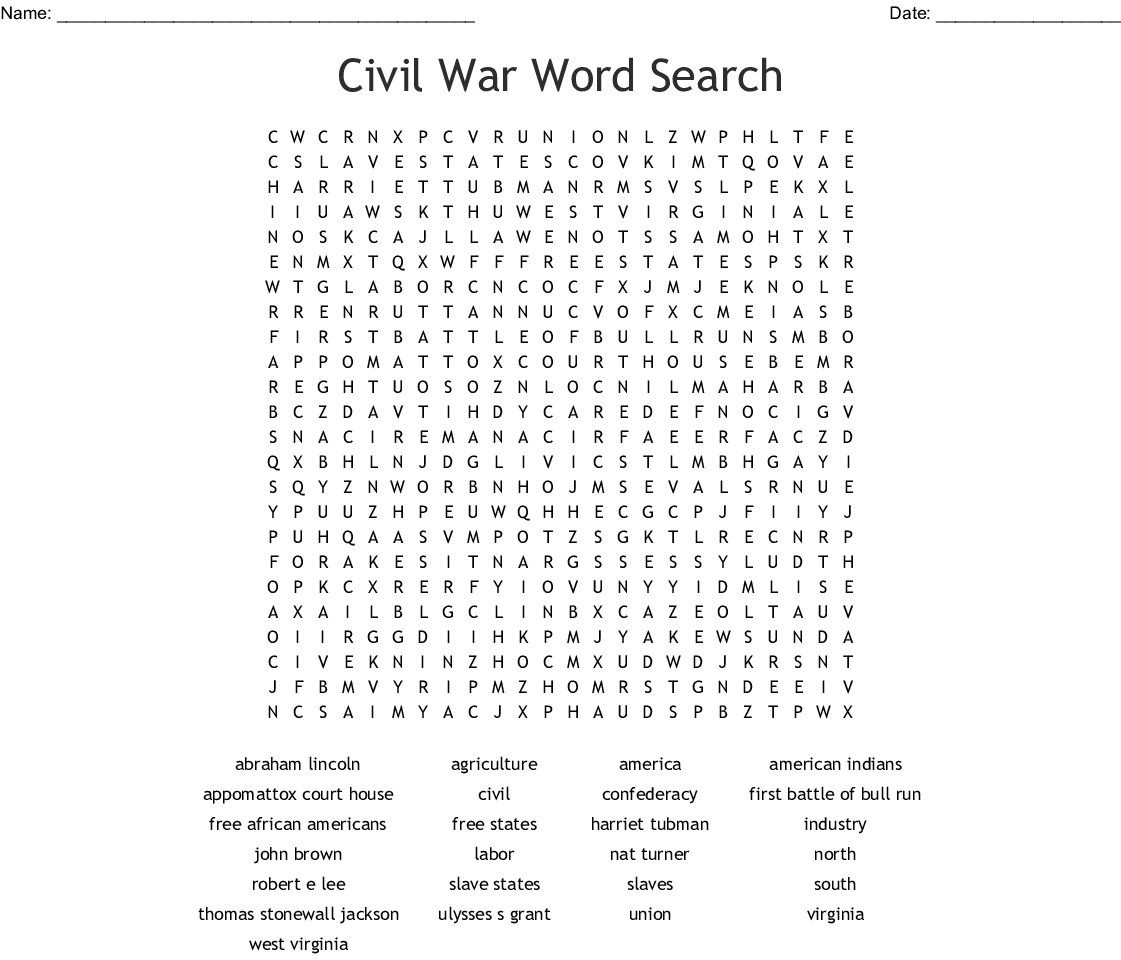 Civil War Word Search