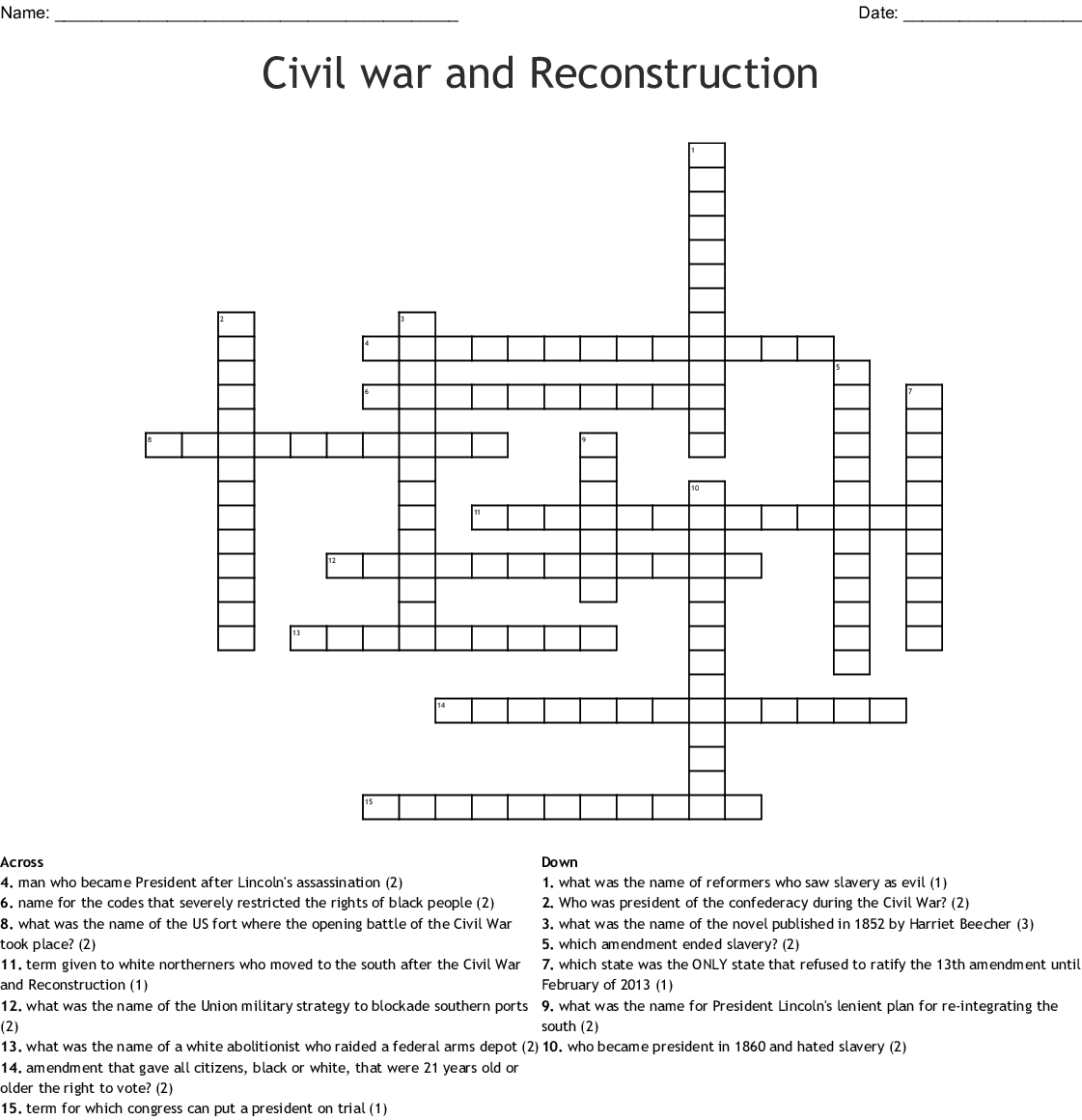 Civil War And Reconstruction Worksheet Answers