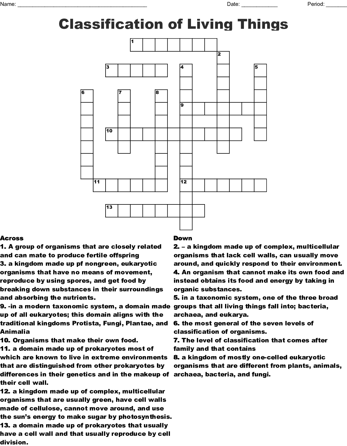 Taxonomy And Classification Word Search