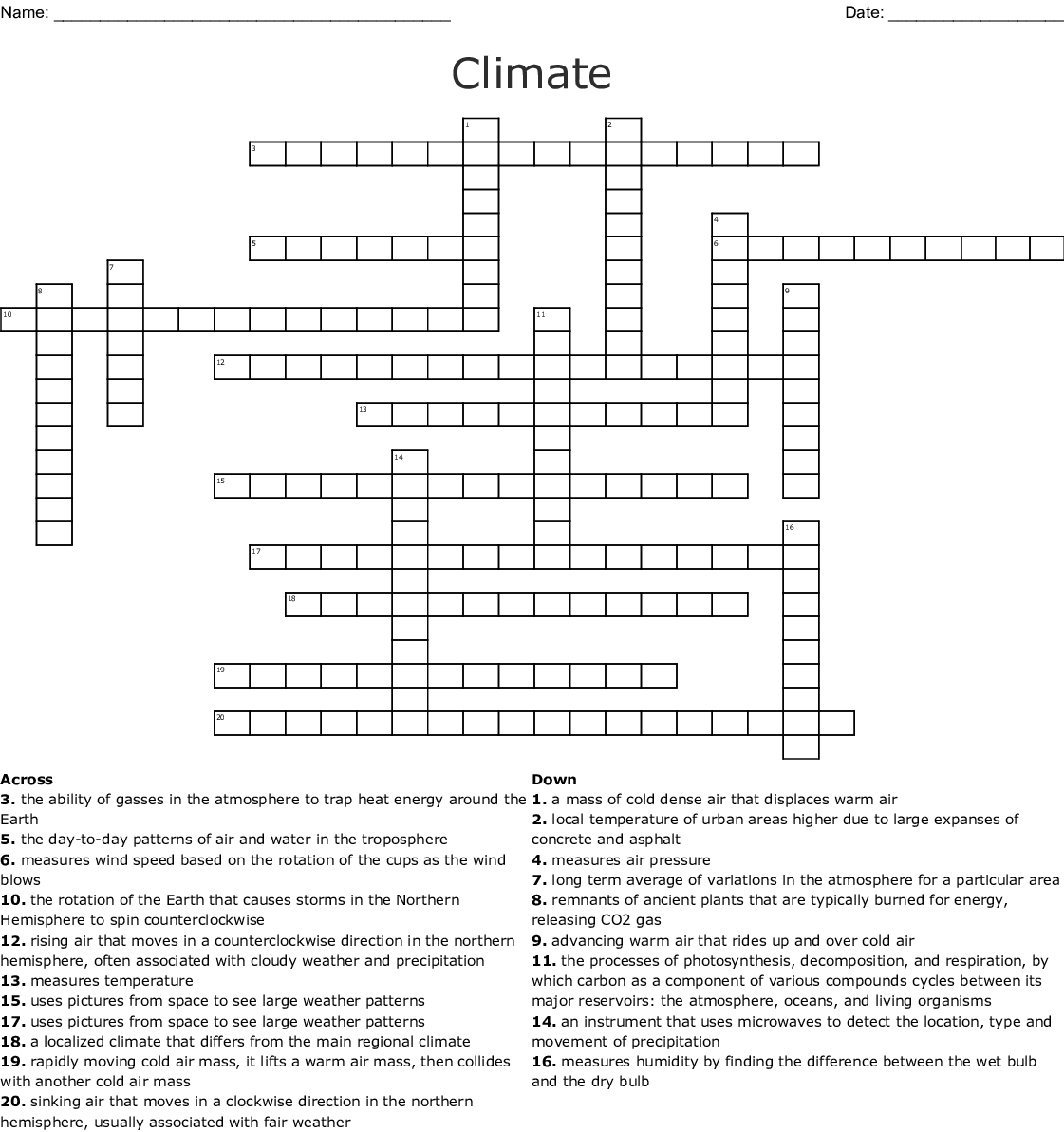 Climate Crossword