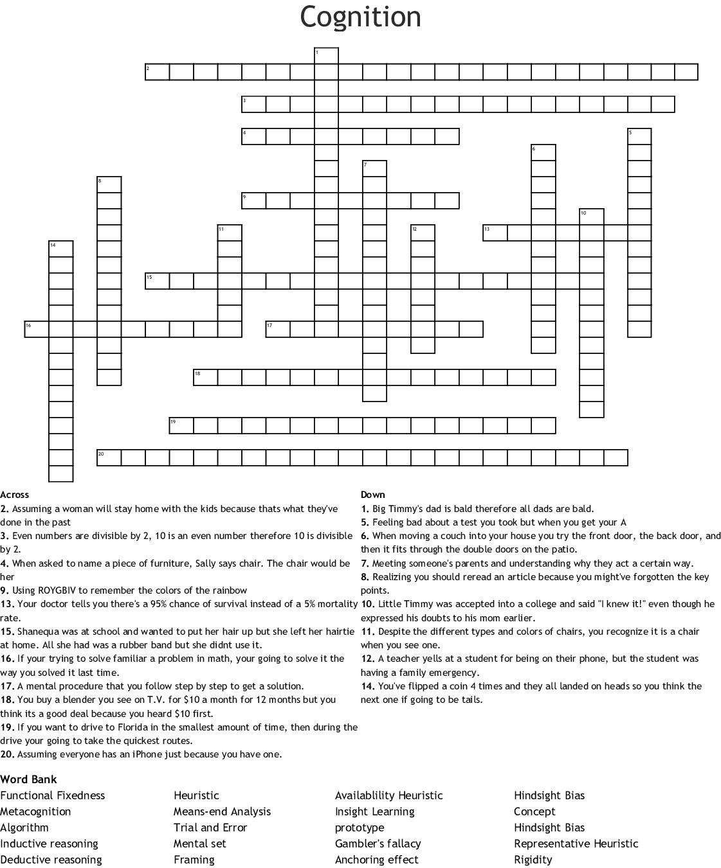Cognition Crossword