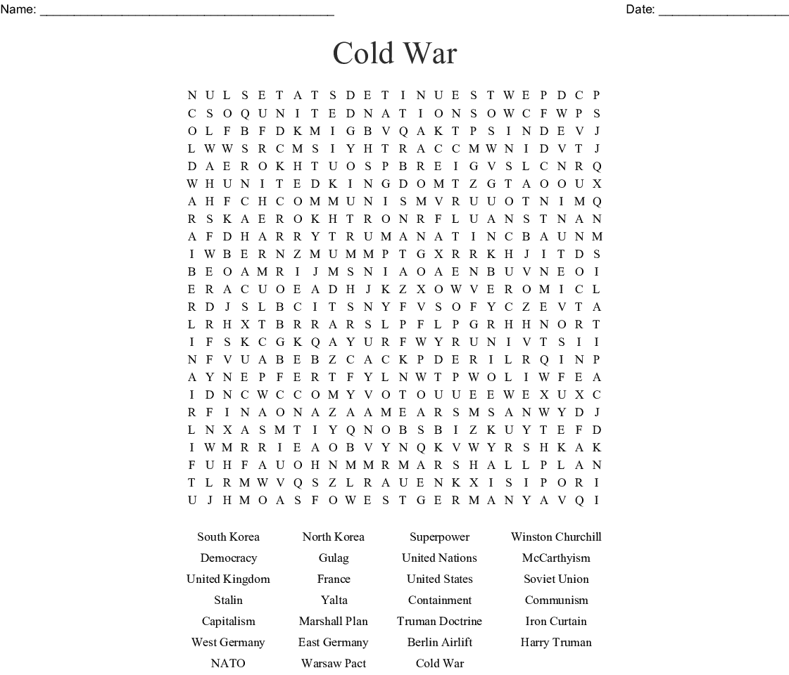 Cold War Word Search