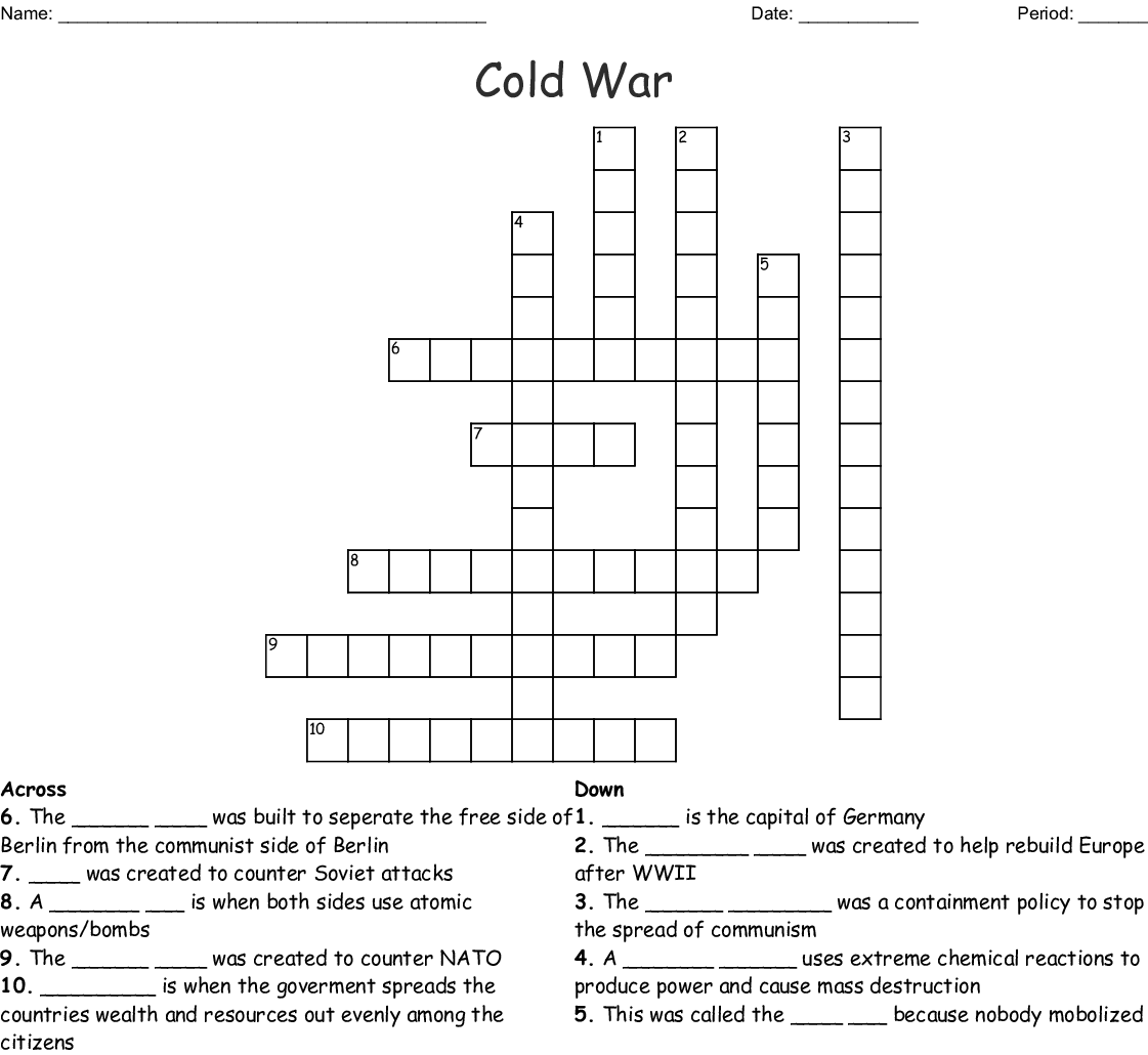 Early Cold War Crossword Puzzle Answers