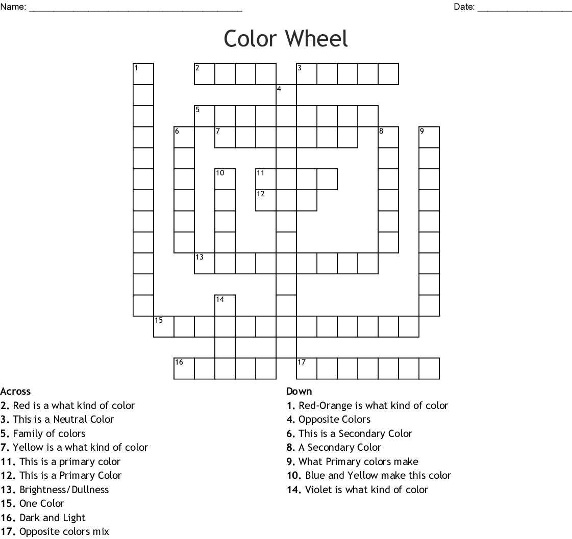 Color Wheel Crossword