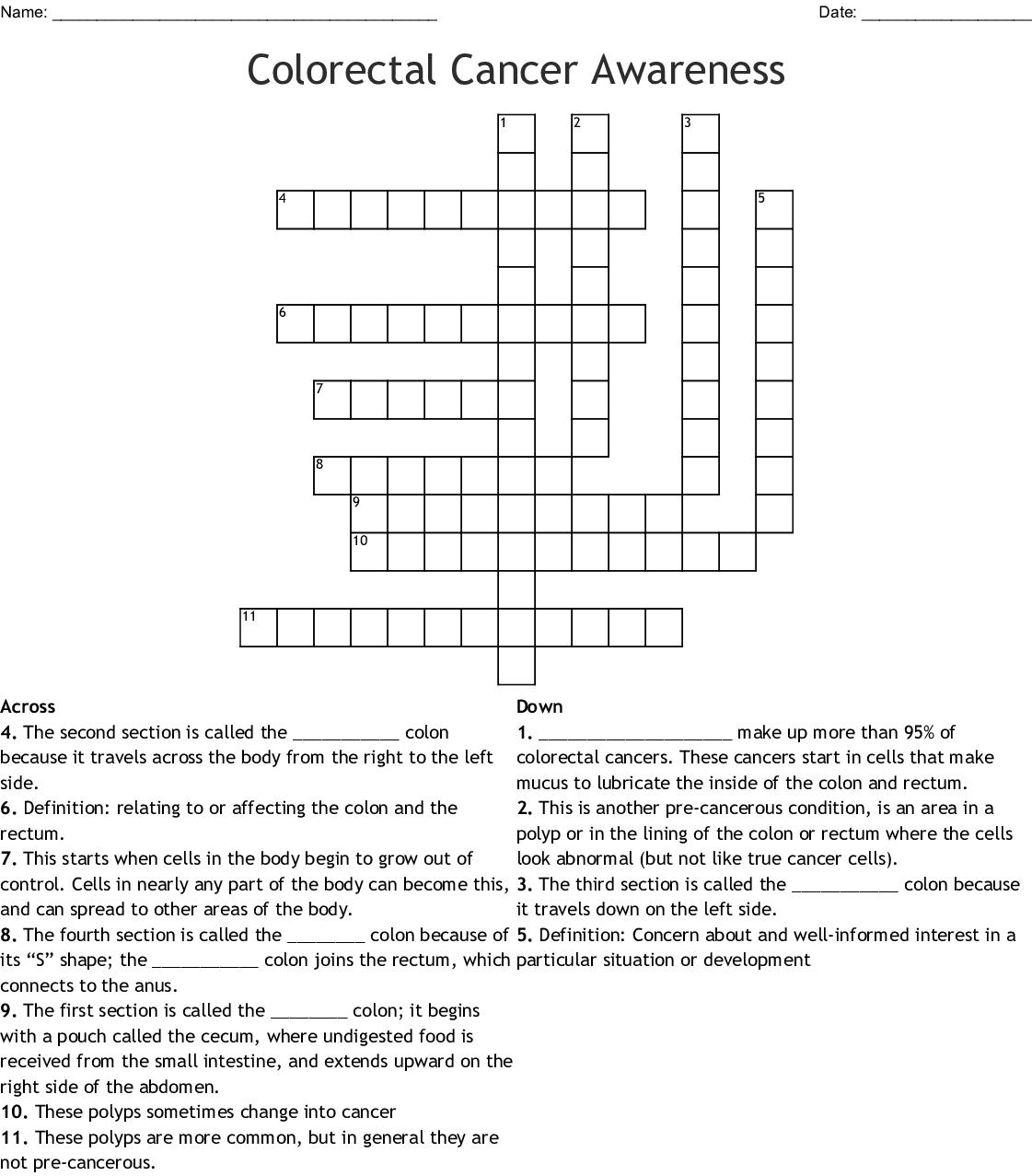 Colorectal Cancer Awareness Crossword