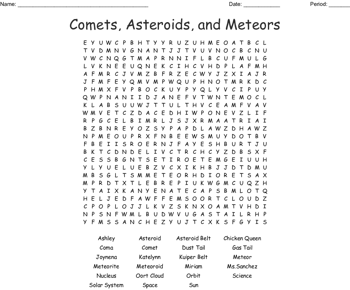 Asteroid And The Asteroid Belt Word Search