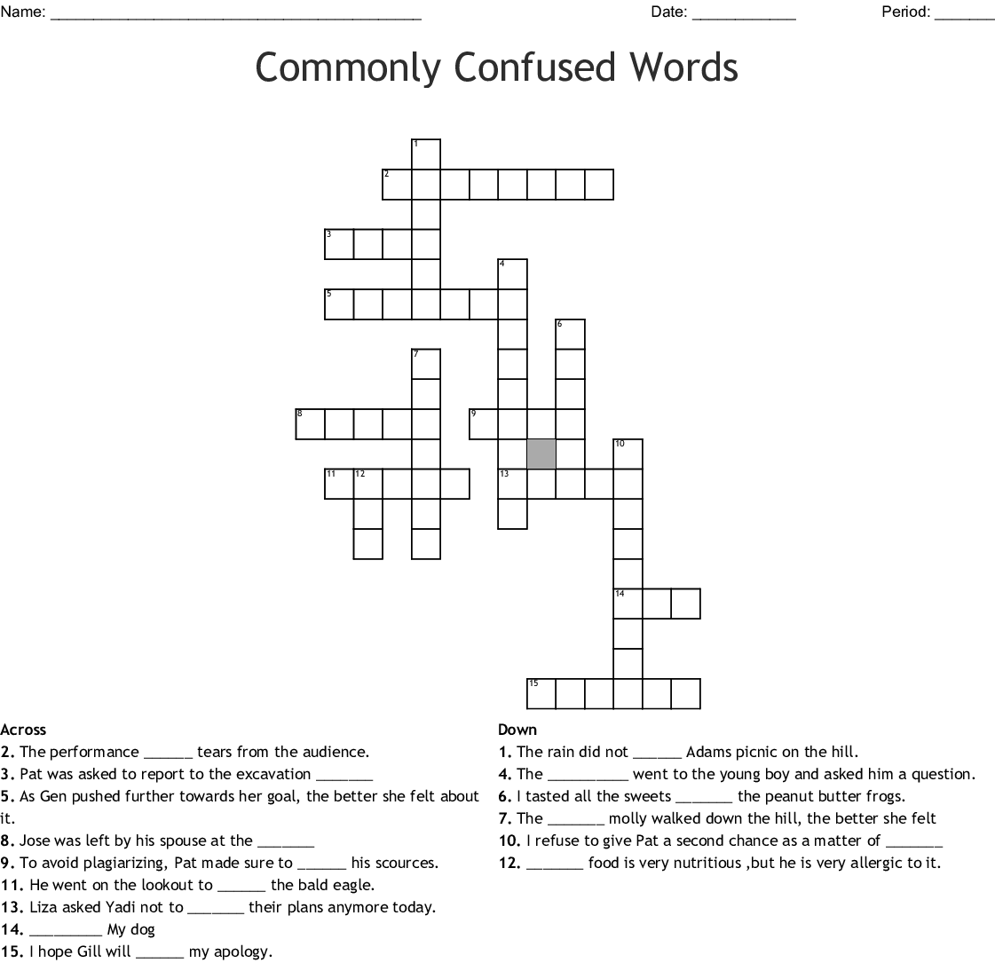 Commonly Confused Words Crossword