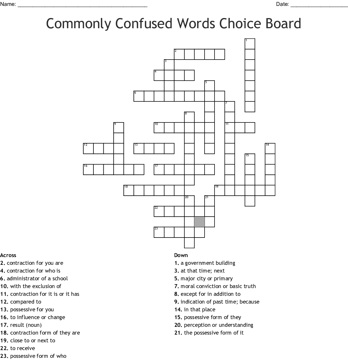 Commonly Confused Words Choice Board Crossword