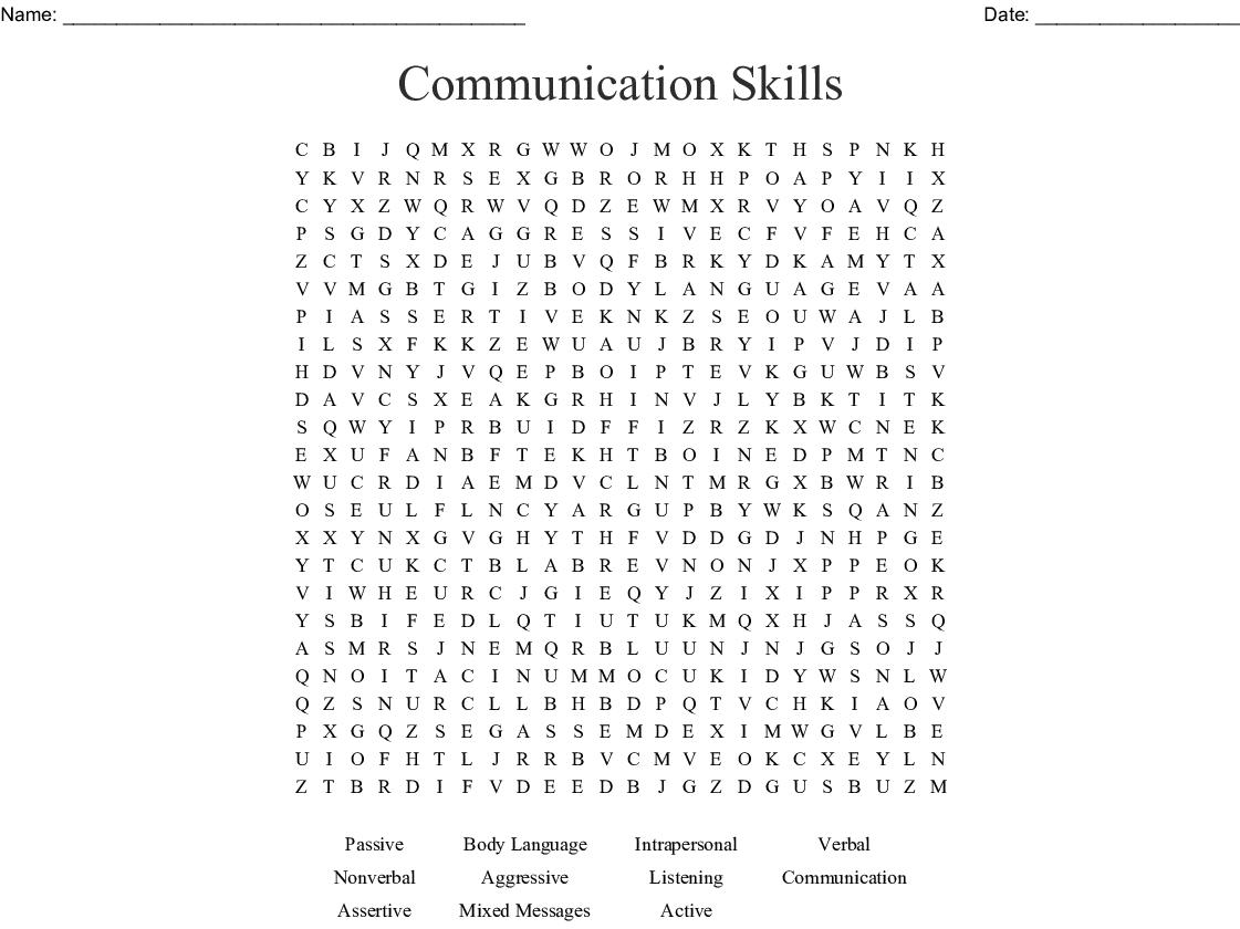 Communication Skills Word Search