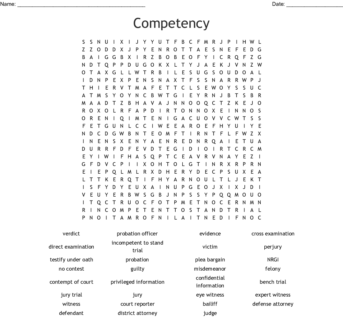 Competency Word Search