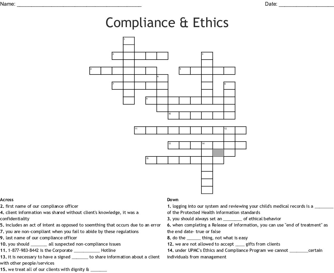 Compliance Amp Ethics Crossword