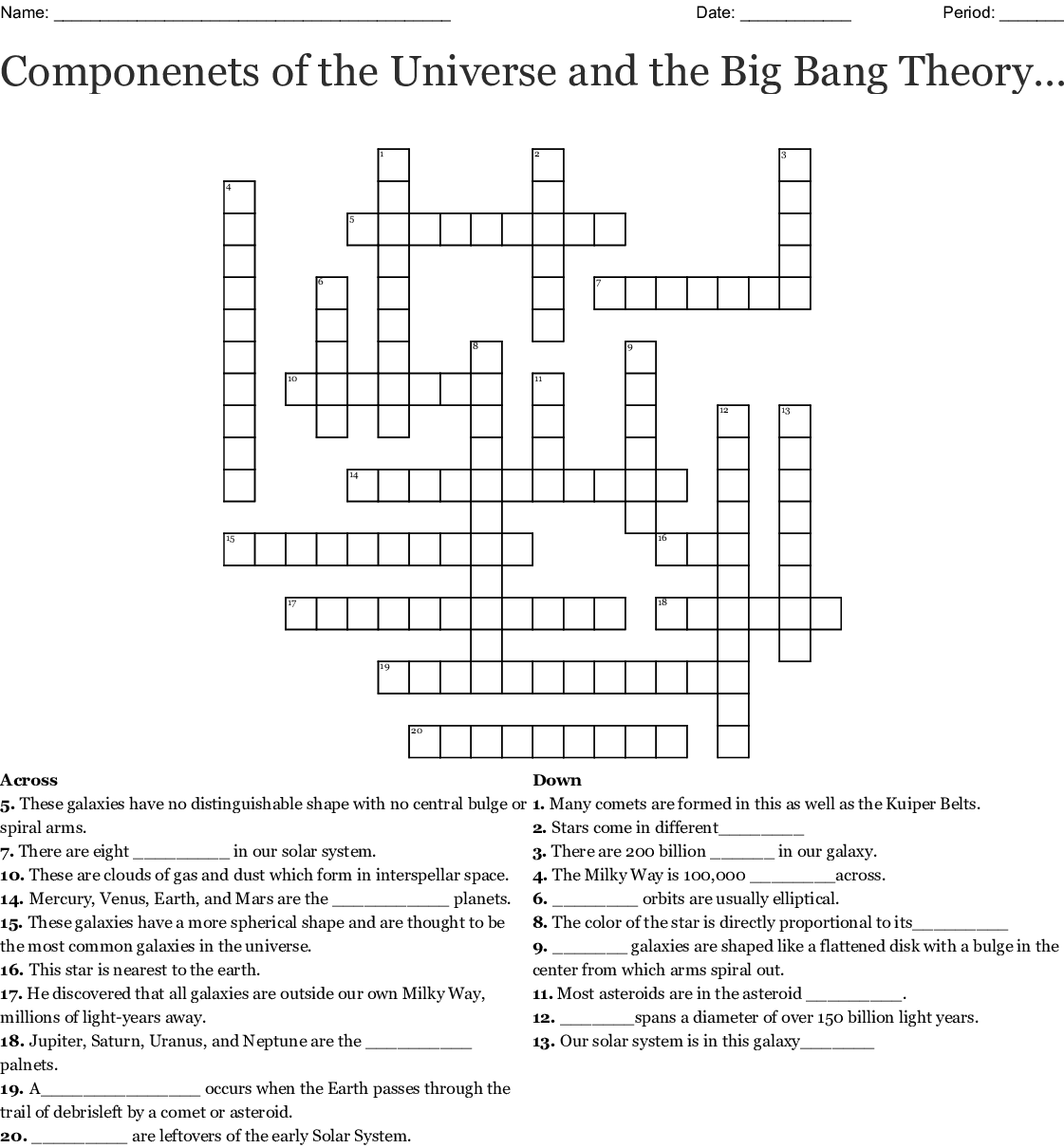 Componenets Of The Universe And The Big Bang Theory