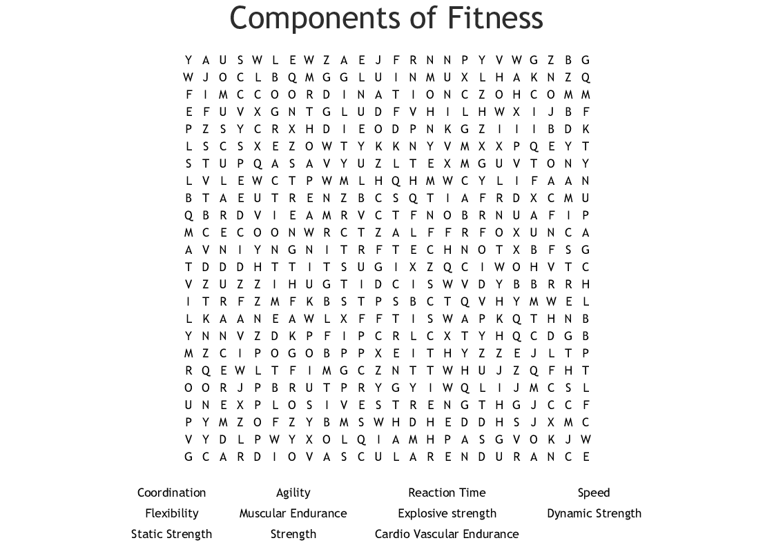 Physical Activity Word Search