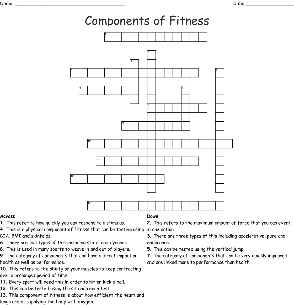 Components Of Fitness Crossword