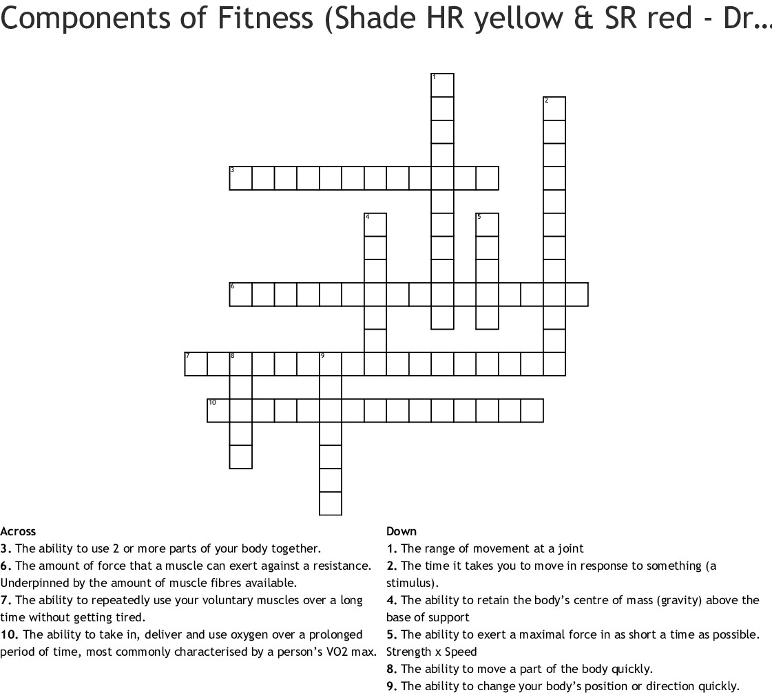 Components Of Fitness Shade Hr Yellow Amp Sr Red