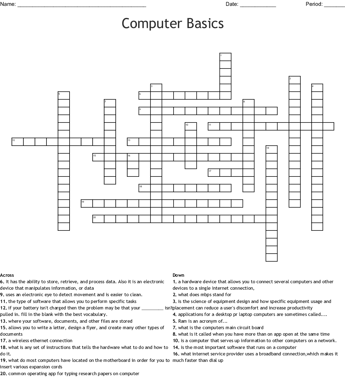 Computer Basics Worksheet Answers