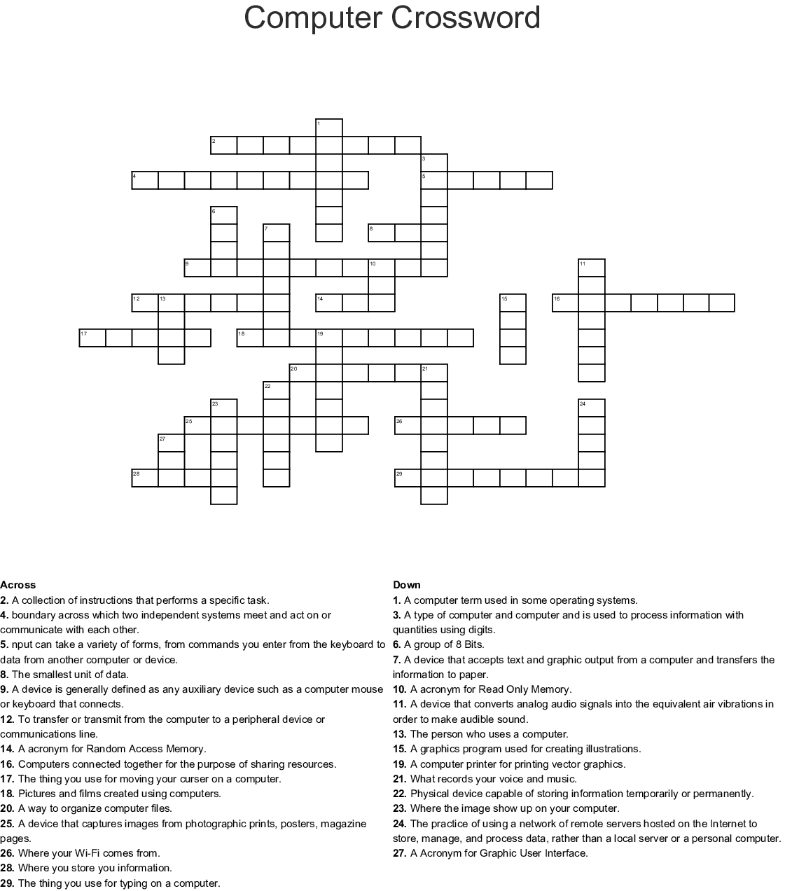 Input And Output Devices Crossword