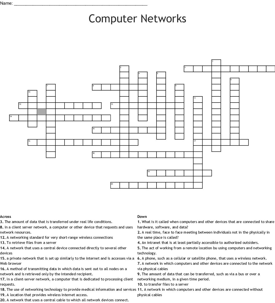 Computer Networks Crossword