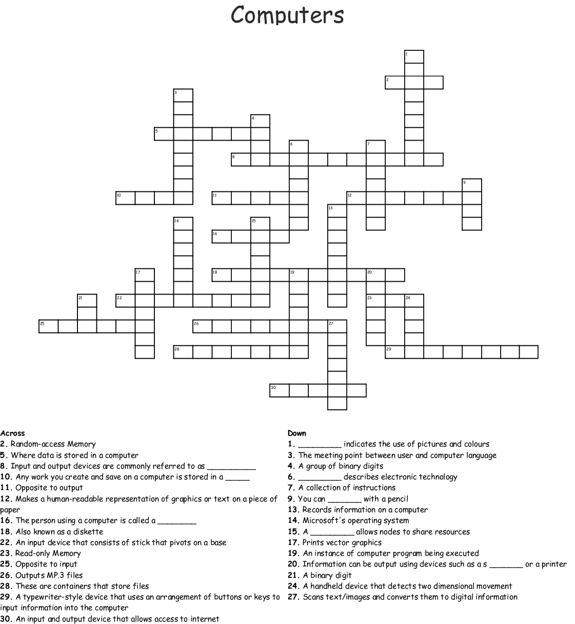 Computer Hardware Crosswords Word Searches Bingo Cards