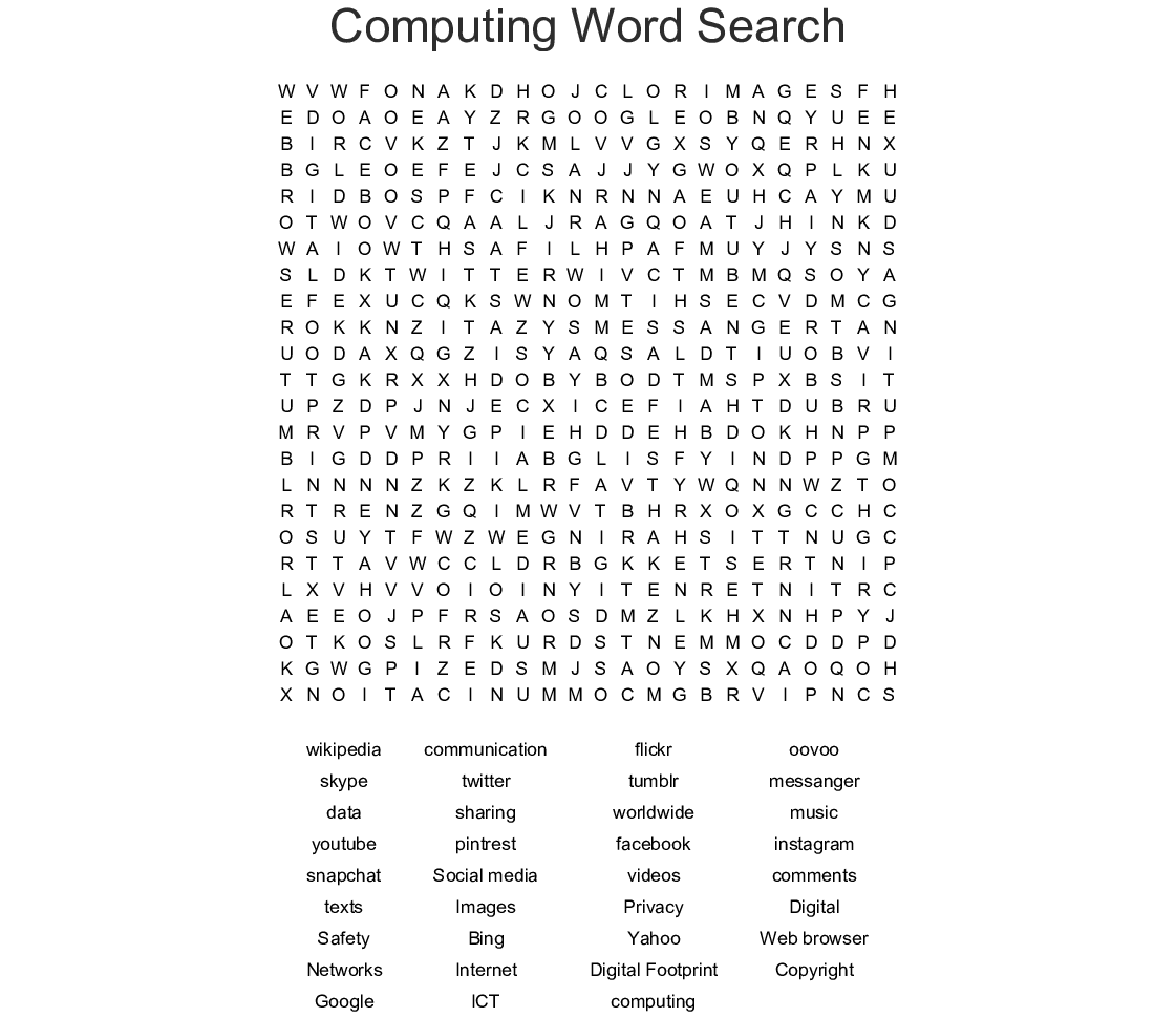 Cyber Bullying Word Search