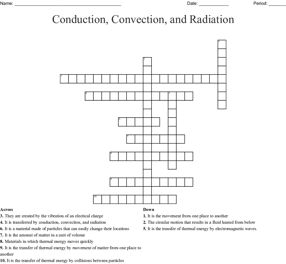 Conduction Convection Radiation Worksheet Answer Key