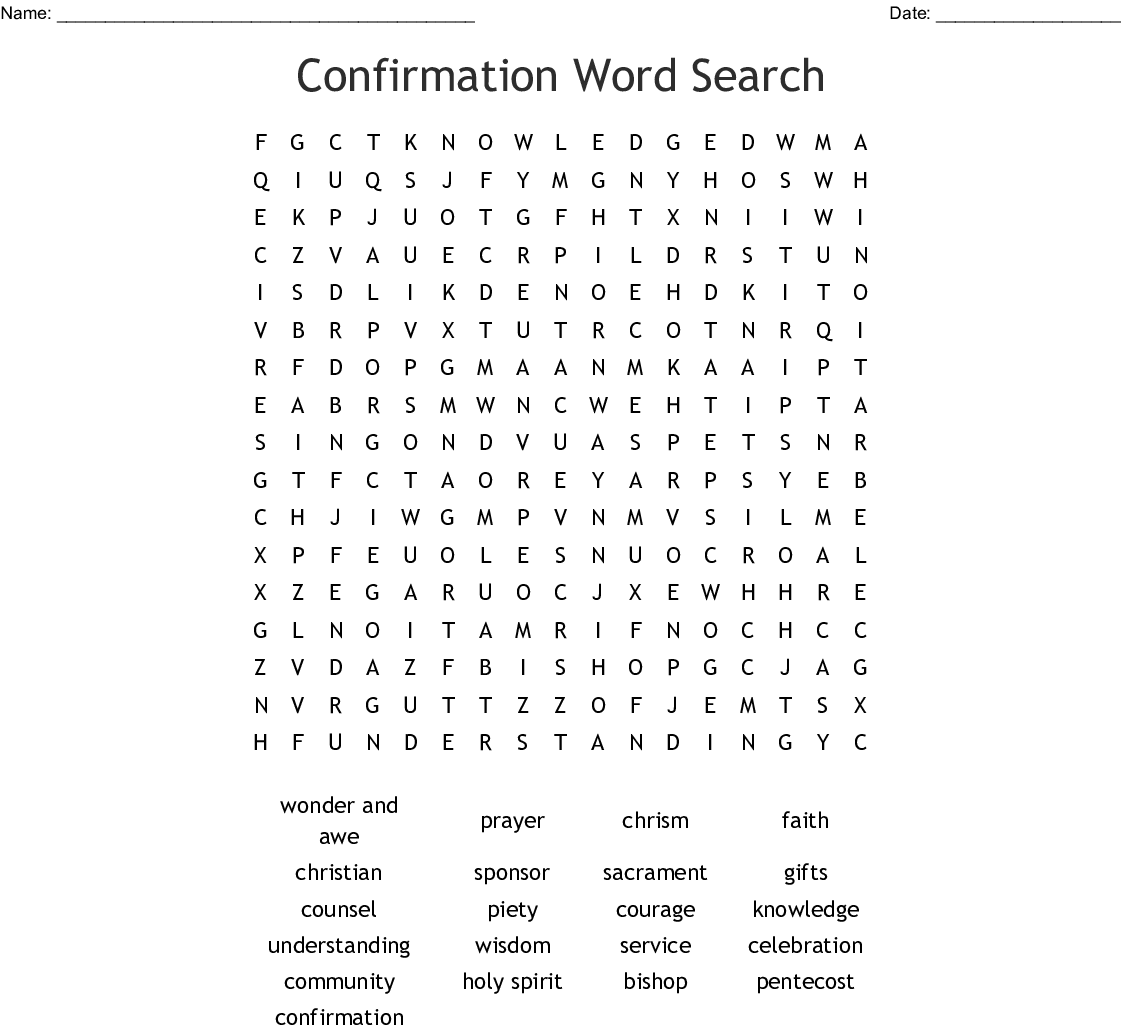 Confirmation Word Search