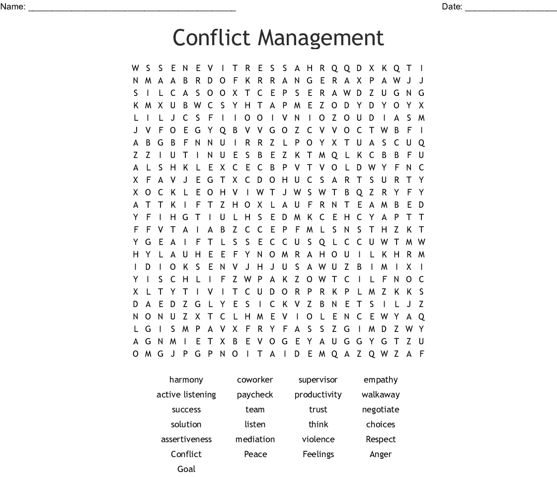 Conflict Management Word Search