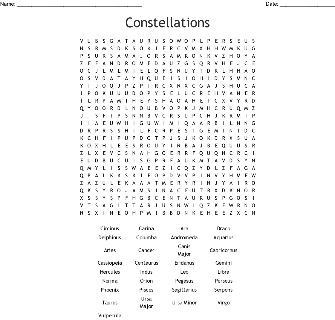 Constellations Word Search