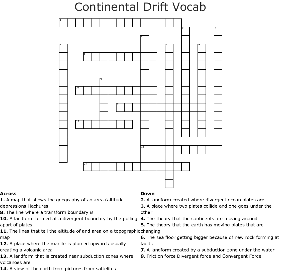 Continental Drift Vocab Crossword