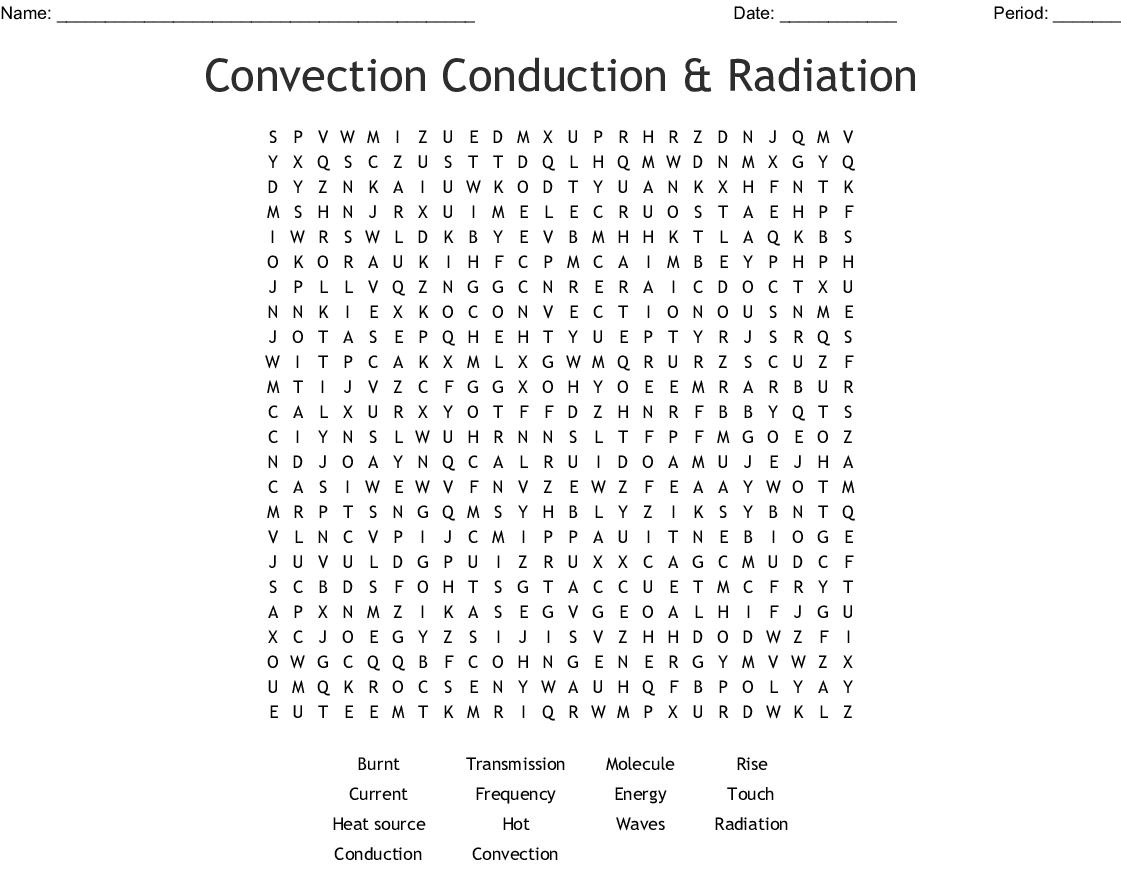 Convection Conduction Amp Radiation Word Search