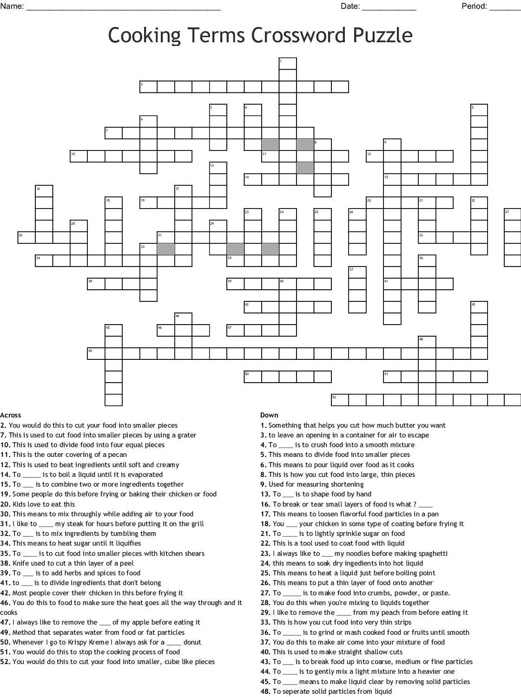 Cooking Methods Crossword